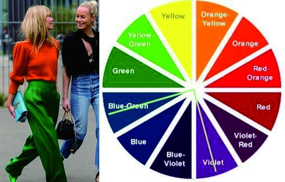 cara memadukan warna baju dengan roda warna sudut 90 derajat