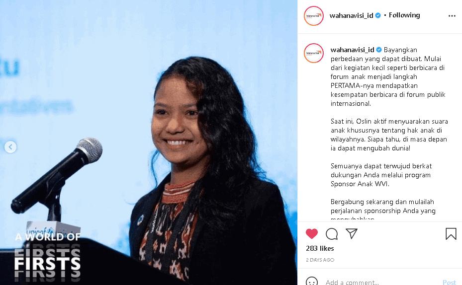 momen pertama Oslin berbicara di ajang internasional dengan bantuan wahana visi Indonesia