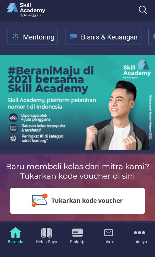 cara daftar Skill Academy melalui Aplikasi