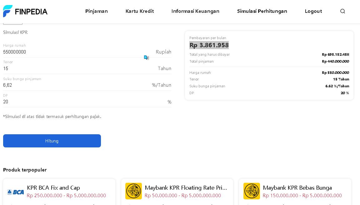 simulasi perhitungan pinjaman online KPR