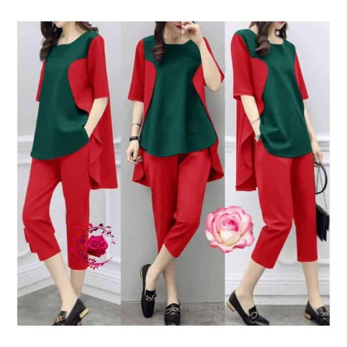 perpaduan warna baju hijau dan celana merah